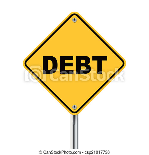 3d illustration of yellow roadsign of debt - csp21017738