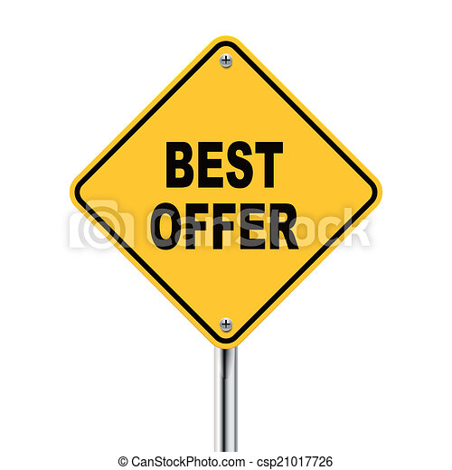 3d illustration of yellow roadsign of best offer - csp21017726