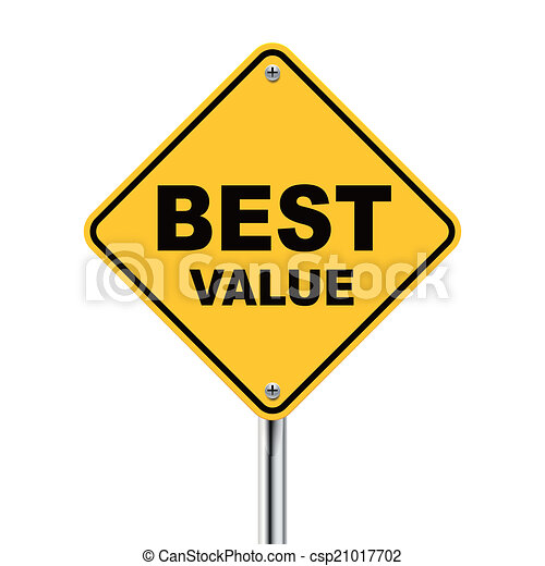 3d illustration of yellow roadsign of best value - csp21017702
