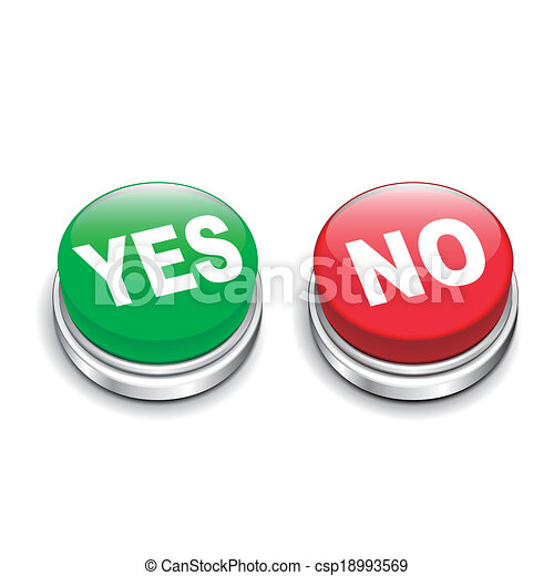 3d illustration of yes and no buttons - csp18993569