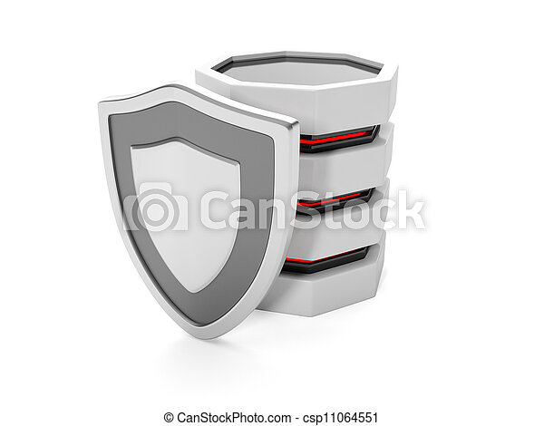 3d illustration: Protect files on your hard disk. Hard drive and shield - csp11064551