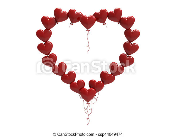 Clip Art Line Of Hearts : D illustration red balloon hearts frame on a white stock