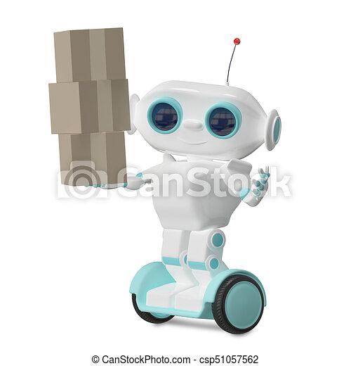 3d Illustration Robot with Three Box - csp51057562