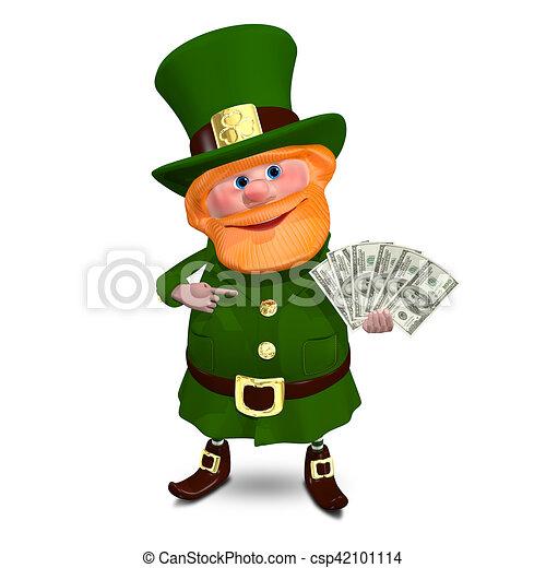 3D Illustration Saint Patrick with a Fan Dollars - csp42101114