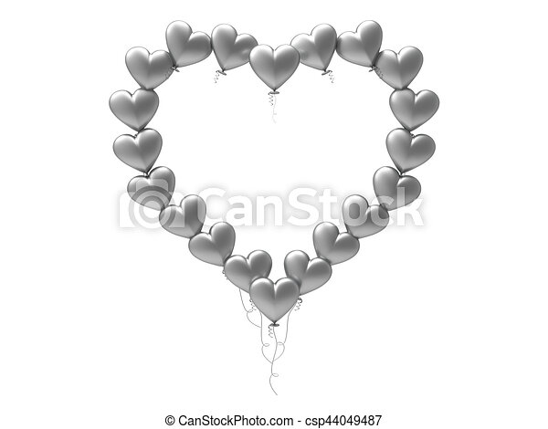 3d illustration silver balloon hearts frame on a white background.