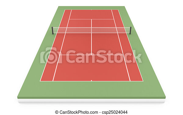 3d illustration tennis court - csp25024044