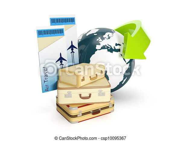 3d illustration: Travel holiday. The suitcase and the earth with a plane ticket on a white background - csp10095367