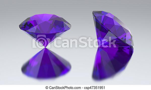 3D illustration two diamond purple tanzanite with reflection