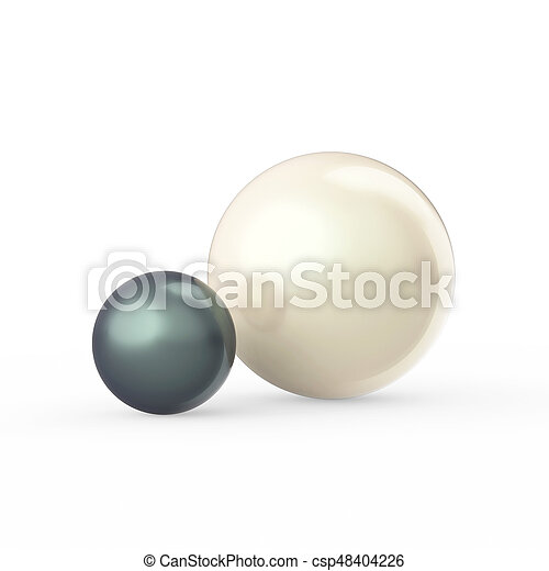 3D illustration two white and dark green black pearls on a white background - csp48404226