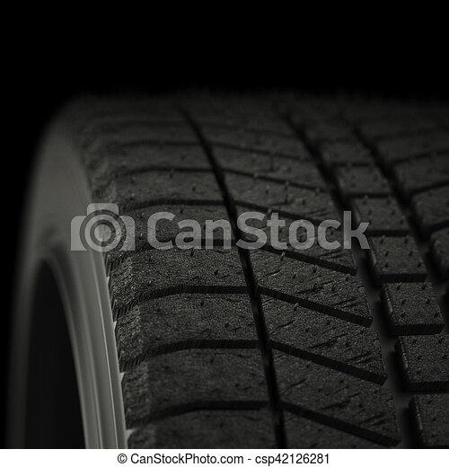 3d illustration winter tires in black background - csp42126281
