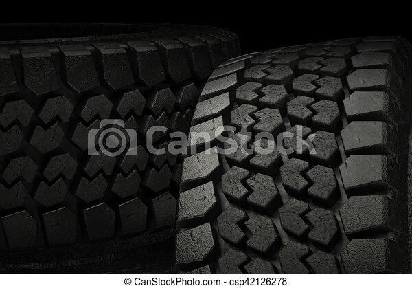 3d illustration winter tires in black background - csp42126278
