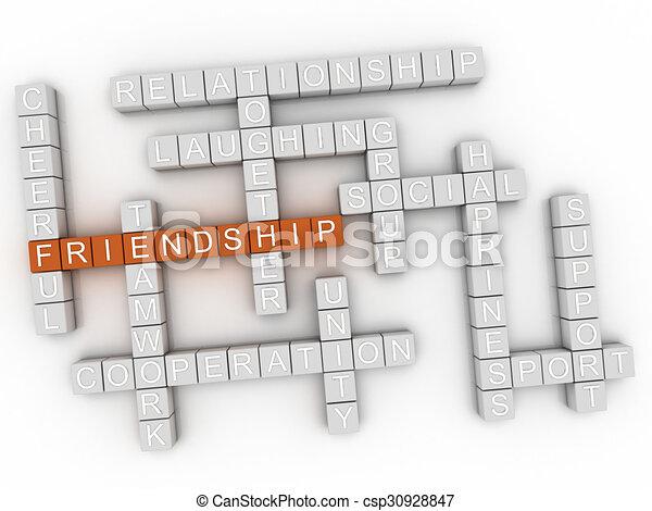 3d image Friendship word cloud concept - csp30928847