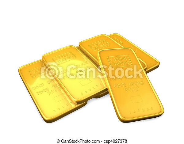 3d image, Gold bars, isolate background - csp4027378