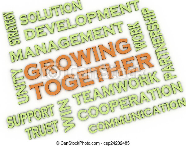 3d image Growing Together issues concept word cloud background - csp24232485