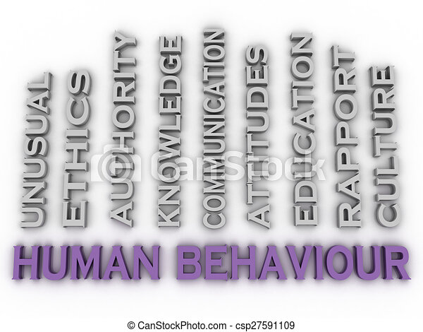3d image Human behaviour issues concept word cloud background - csp27591109