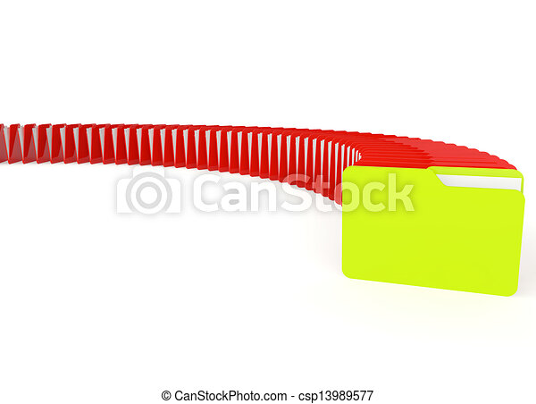 3d image of a green and red file folder - csp13989577