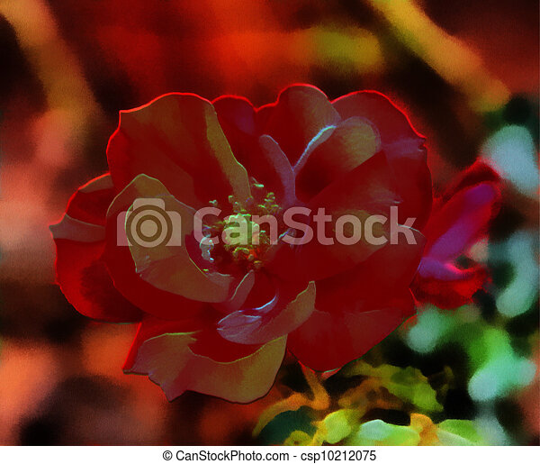 3D Image of a Red Rose - csp10212075