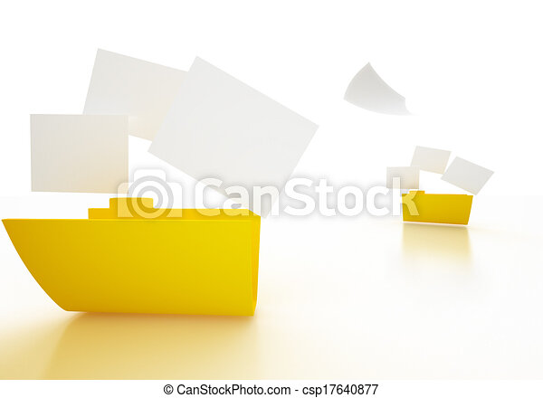 3D image of Folder icon with paper - csp17640877