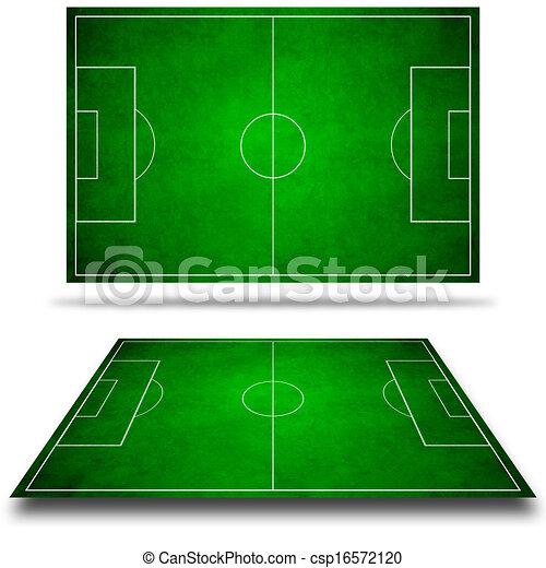3d image of green soccer field, football - csp16572120