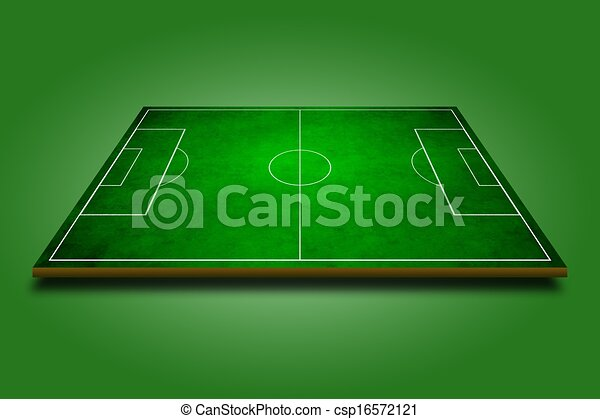 3d image of green soccer field, football - csp16572121
