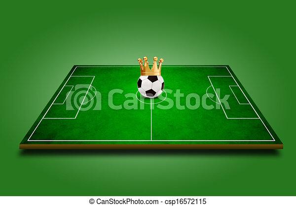 3d image of green soccer field, football - csp16572115