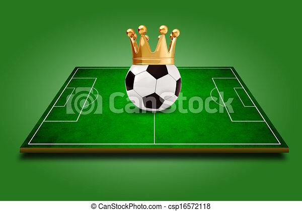 3d image of green soccer field, football - csp16572118
