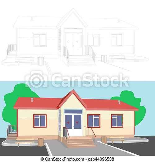 3d image of house with porch - csp44096538