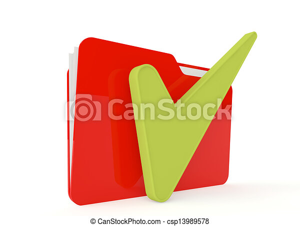 3d image of red file folder with a right sign - csp13989578