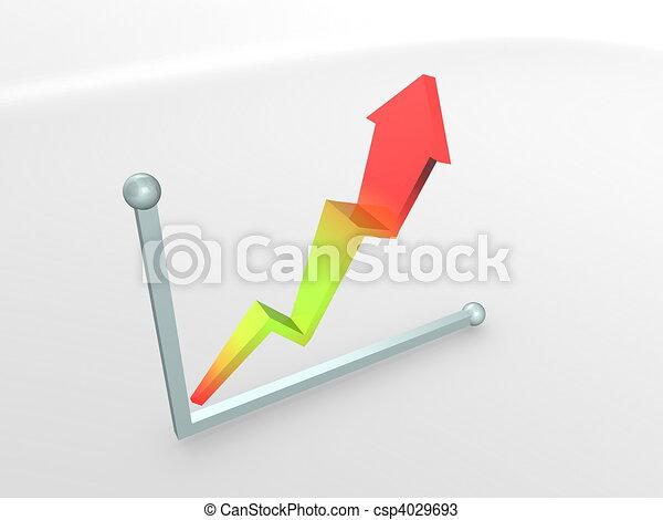3d image, performence graph, rise - csp4029693