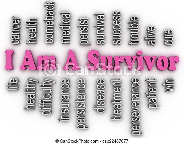 3d imagen I Am A Survivor  concept word cloud background - csp22487077