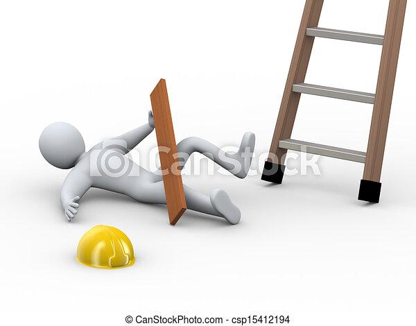 3d injured man - ladder accident - csp15412194