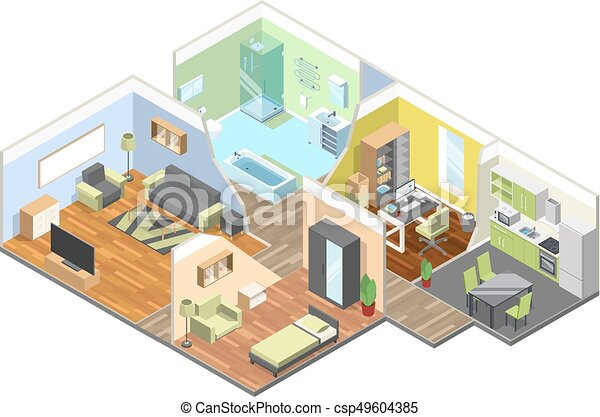 3d Interior Of Modern House With Kitchen Living Room Bathroom And Bedroom Isometric Illustrations Set