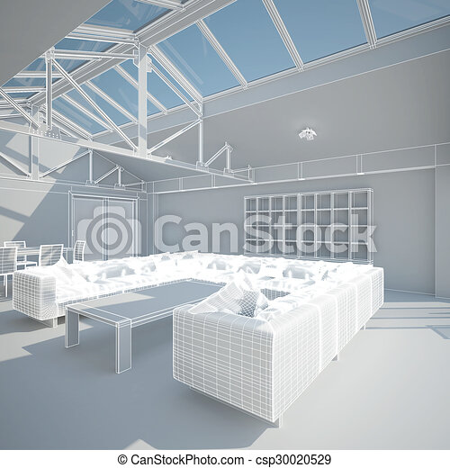 3D interior rendering of a living room - csp30020529