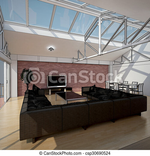 3D interior rendering of a living room - csp30690524