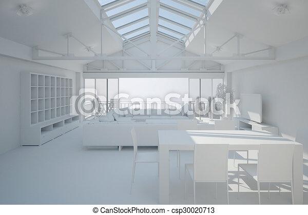 3D interior rendering of a living room - csp30020713