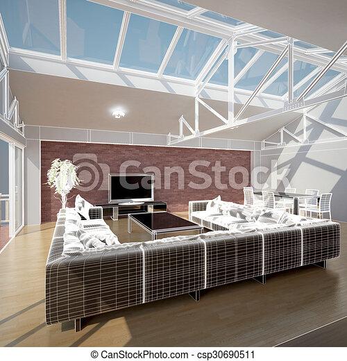 3D interior rendering of a living room - csp30690511