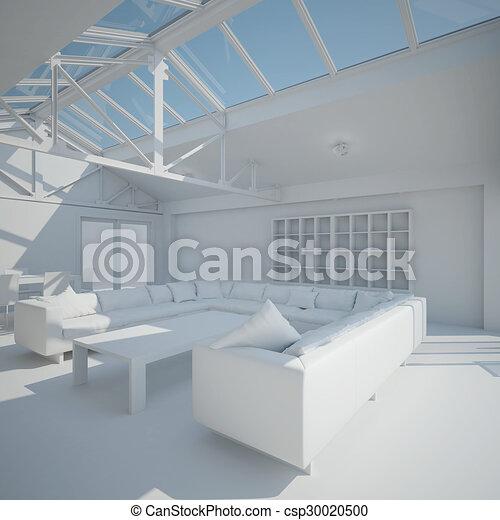 3D interior rendering of a living room - csp30020500