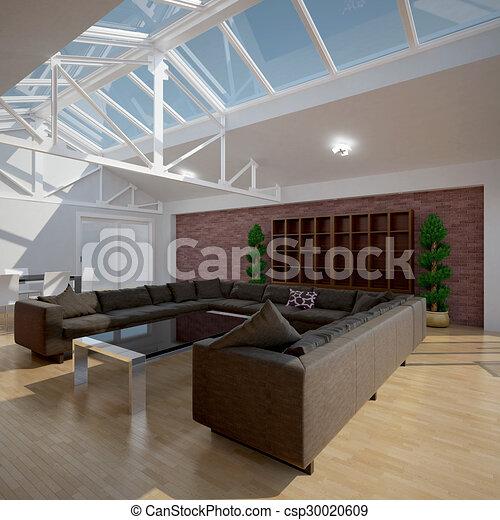 3D interior rendering of a living room - csp30020609