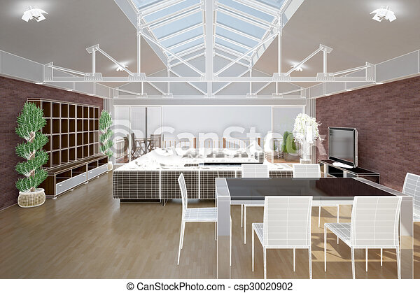 3D interior rendering of a living room - csp30020902