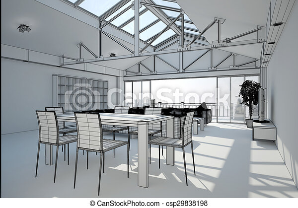 3D interior rendering of a living room - csp29838198