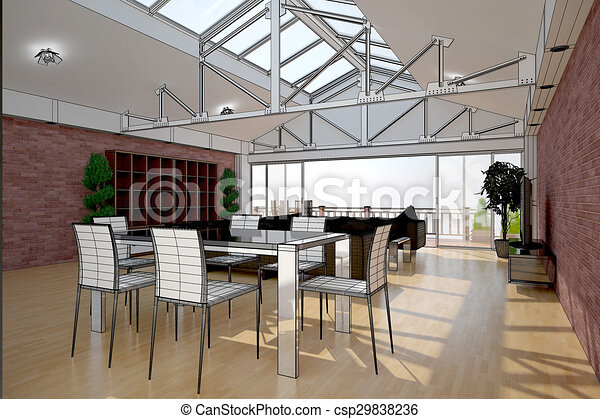 3D interior rendering of a living room - csp29838236