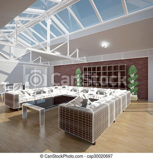 3D interior rendering of a living room - csp30020697