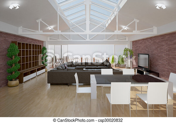 3D interior rendering of a living room - csp30020832