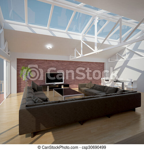 3D interior rendering of a living room - csp30690499