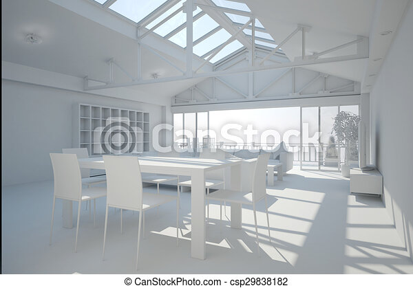 3D interior rendering of a living room - csp29838182