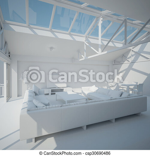 3D interior rendering of a living room - csp30690486