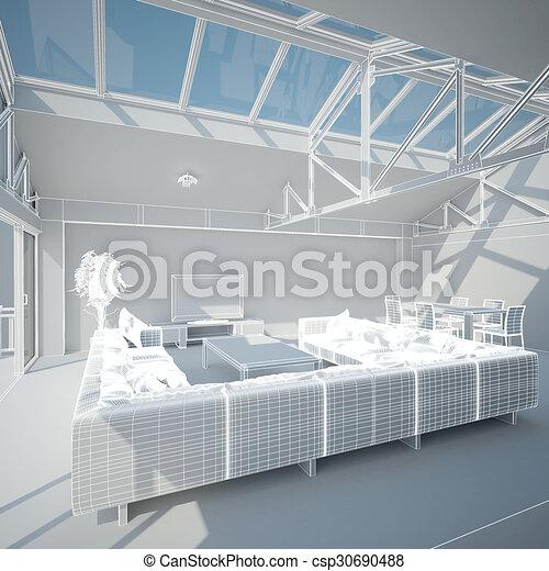 3D interior rendering of a living room - csp30690488