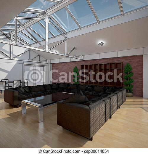 3D interior rendering of a living room - csp30014854