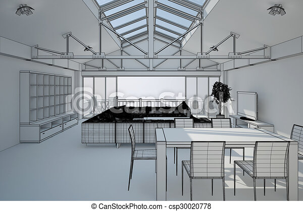 3D interior rendering of a living room - csp30020778