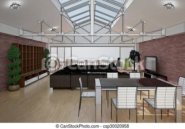 3D interior rendering of a living room - csp30020958
